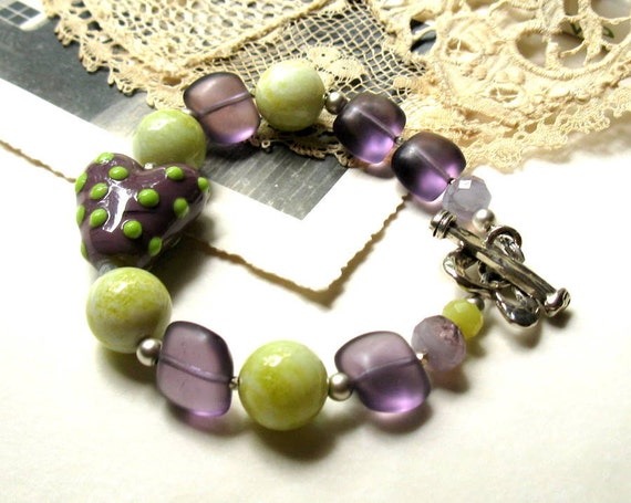 Purple Lime Boho Beaded Bracelet, Green and Purple Lampwork Bracelet, Gift for Mom Daughter Girlfriend, Under 200