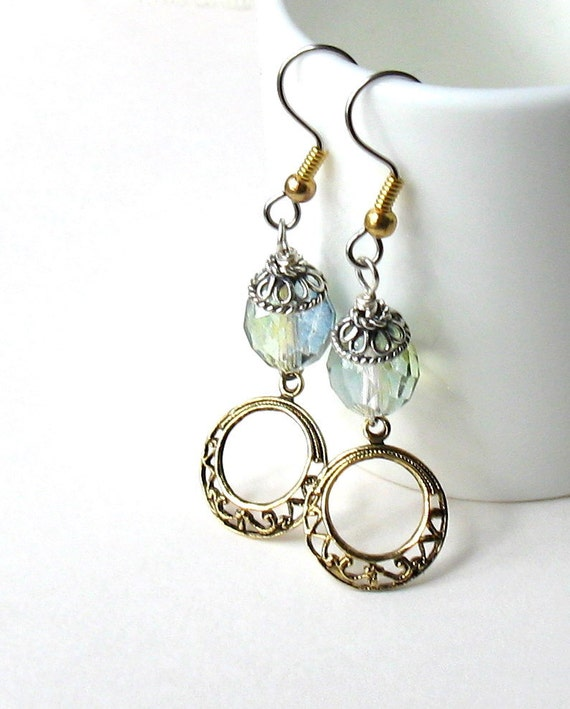 RESERVED FOR VAN Celery Green Brass Filigree Dangle Earrings / Fresh / Garden / Teacher Gift / Pastel
