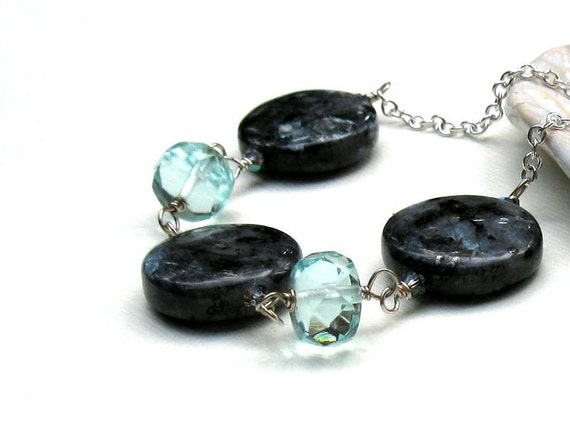 Aquamarine and Larvikite Wire Wrapped Geometric Bib Necklace Sterling Silver, Gift for Her Under 150