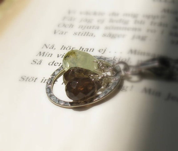 Gemstone Sterling Silver Pendant Necklace / Silver Wire Wrapped Neutral Pendant Necklace / Woodland / Forest / Moss / Rustic