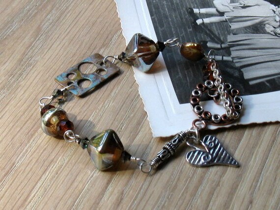 Mod Eclectic Copper Silver Lampwork Bracelet - Rally / Mod Minimalist Urban Industrial / Holidays / For Her / Under 65