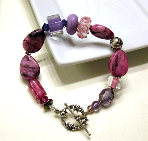 SALE Purple Silver Eclectic Bracelet - Martine / plum grape harvest