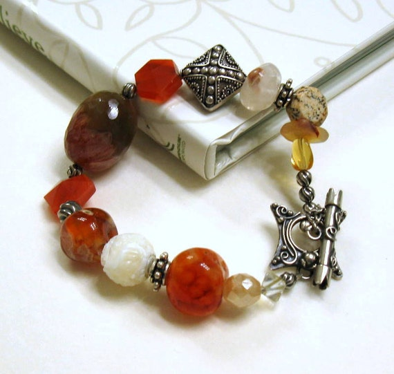 RES for Maria - Red Carnelian Sterling Silver Bohemian Beaded Bracelet / Bohemian Agate Chunky Beaded Bracelet / Geometric / Spice