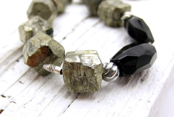 Pyrite Sterling Silver Statement Luxe Necklace / Urban Industrial / Natural Neutral Chunky / LAY AWAY Plan