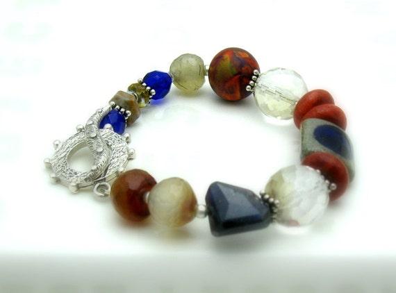 Red Coral and Blue Iolite Bohochic Beaded Bracelet, Gemstone Boutique Bracelet for Mom or Her Under 350