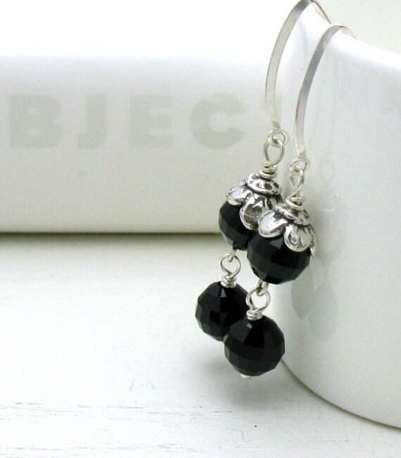 Black Crystal Sterling Silver Dangle Earrings, Black Drop Flower Earrings, For Her Under 75, Gift for Girlfriend