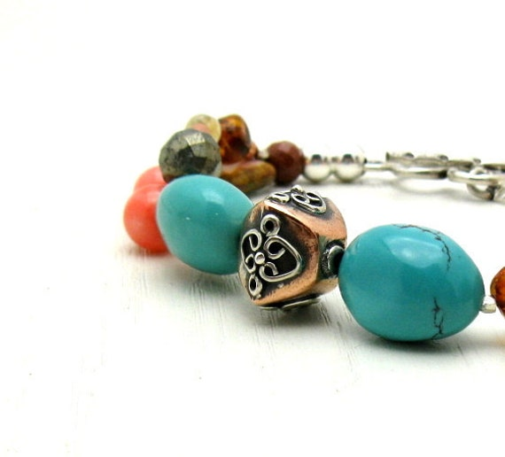 Turquoise Boho Beaded Bracelet with Sterling Silver, Bohochic Gemstone Indie Southwestern, for Her Under 250