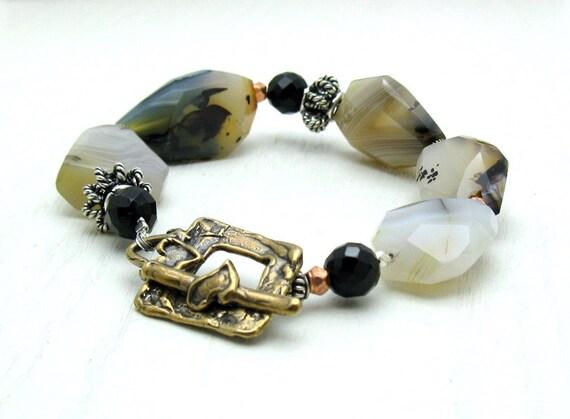 Banded Agate Boho Luxe Beaded Bracelet, Organic Chunky Neutral Bracelet, Mixed Metals, For Mom or GirlfriendUnder 350