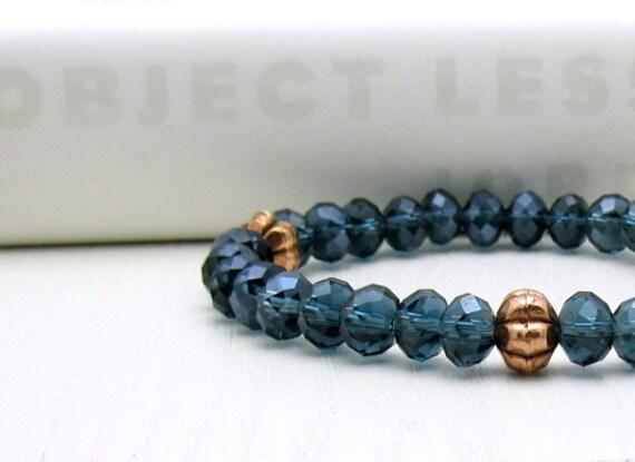 Blue Midnight Copper Bracelet - Night: Stretch Stack / for her under 30 / Delicate