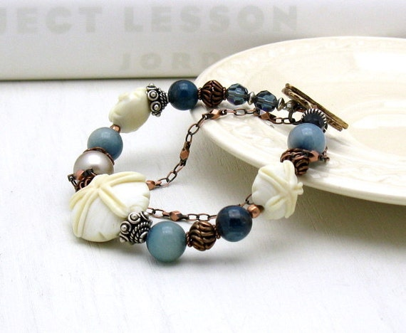 Eclectic Sand Dollar Lampwork Bracelet - Beached / Spring Summer Beach Shore Boho