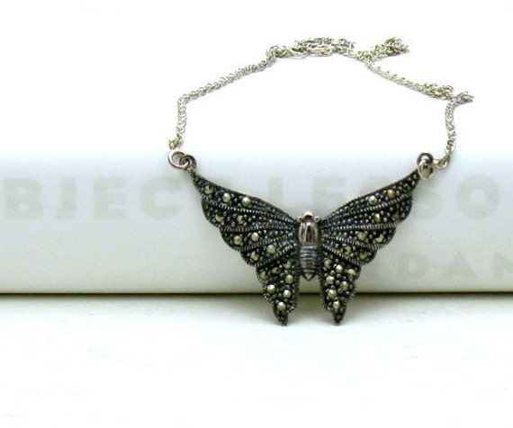 Vintage Marcasite Butterfly Sterling Silver Necklace - Flight / Woodland Nature Rustic Fall Autumn Nature Butterfly