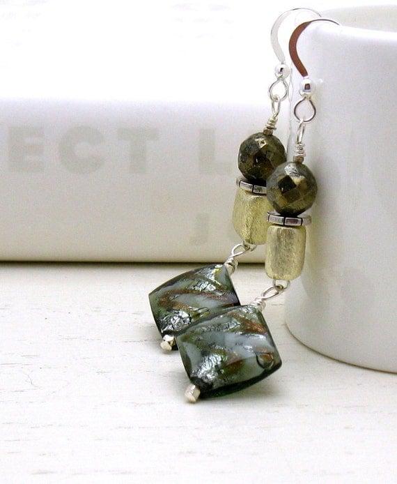 Metallic Murano Glass Dangle Earrings with Gold and Silver, Geometric Drop Earrings, Boutique Wearable Art
