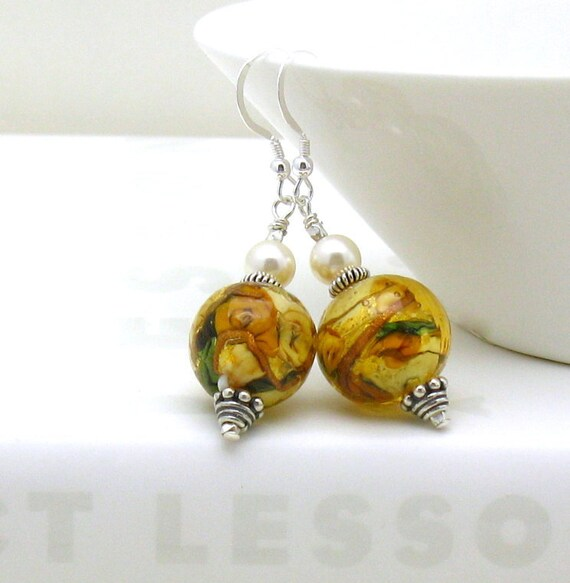Gold Murano Glass Sterling Silver Dangle Earrings, Venetian Murano Statement Luxe Earrings, Honey Golden, Handmade by Artist