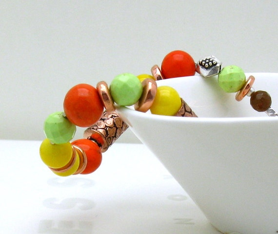 RES FOR RON - Orange Lime Yellow Copper Beaded Bracelet - Carmen / Bright Neon Boho Autumn Harvest Holiday