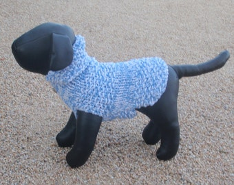 Hand Knit Ice Blue and White Dog Sweater, Jumper xx Small