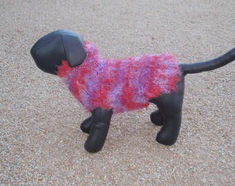 Hand Knit Red and Purple Dog Sweater, Jumper xx small.