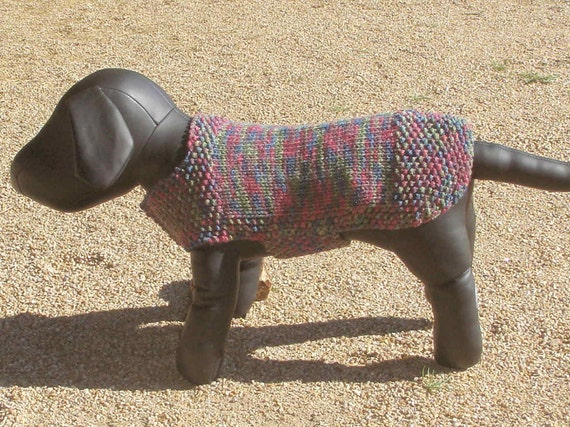 Mountain Meadow Dog Sweater Hand Knitted Medium.