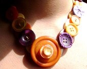 Necklace in Vintage Buttons - Sunset Colors