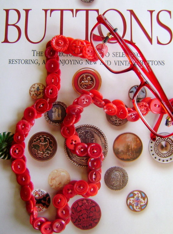 Vintage Button Eyeglass Chain - Red Hat Society