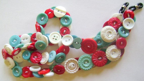 Eyeglass Chain in Vintage Buttons - Red and Turquoise