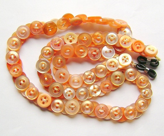 Eyeglass Chain in Vintage Buttons Tangerine