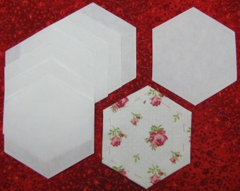"""Hexagons, 300 Iron on Papers, hexies, honeycomb, DIY, Basting papers for English Paper Piecing EPP, 1   1/4""""  sides when finished. Hexagons"""