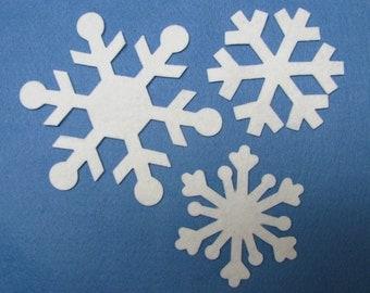 Diecut, SNOWFLAKES,  DIY, Wool felt blend,  appliques,  TWELVE assorted,   precision die cut