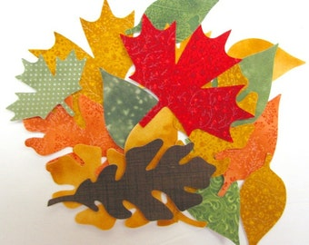 Diecut FALL LEAVES,  leaves, diy,  leaf appliques, assorted,  precision diecut, TEMPORARILY fused, iron-on