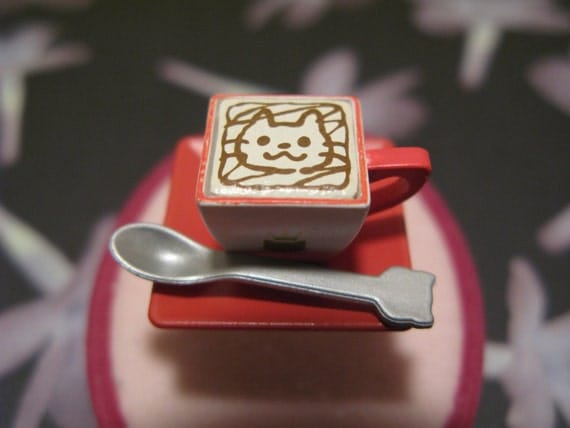 Kitty Cat Coffee Cup Ring