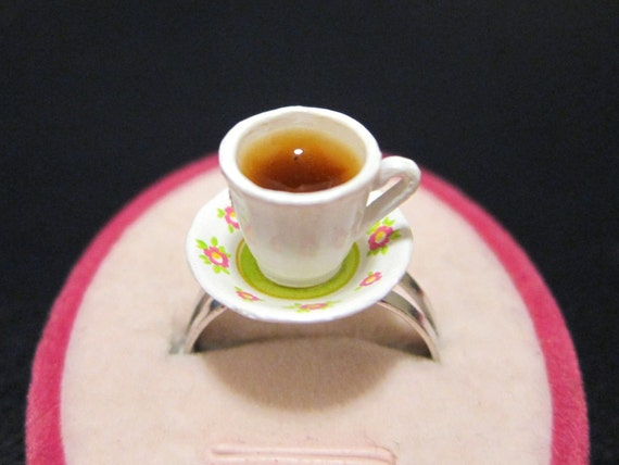 Sweet Floral Tea Cup Ring