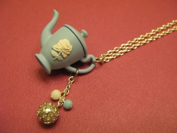 RESERVED for Saima \/ Blue Victorian Style Teapot \/ Tea Pot Pendant Necklace and Ring