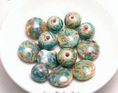 Koru Swirl Beads - Copper Blue