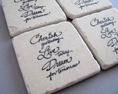 Hand Stamped Tumbled Marble Tile Coasters