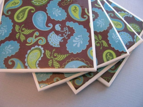 Ceramic Tile Coasters,  Green and Blue Paisley