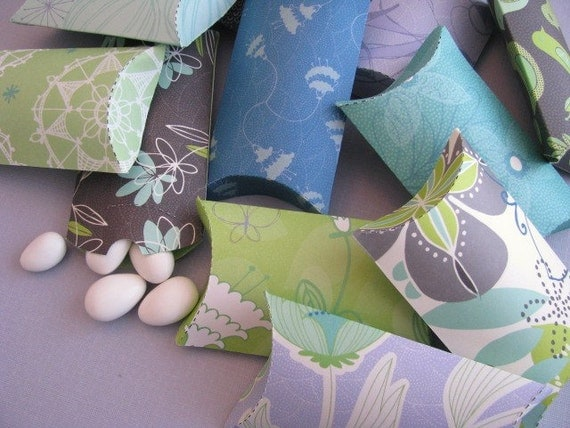Green, Blue and Purple Party Favor Paper Pillow Boxes Set of 12