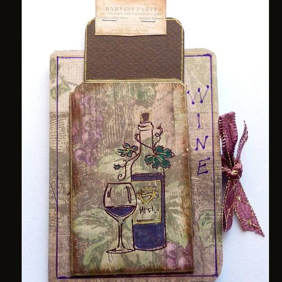 Wine Smash book  Altered art journals notebook mixed media collage