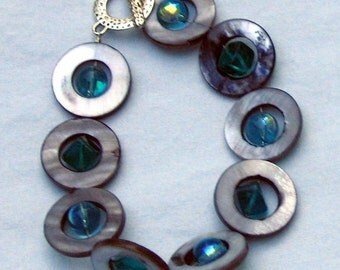 Grey Shell and Turquoise bracelet