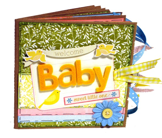 Welcome Baby - New Baby Premade Scrapbook - Paper Bag Album