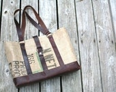 NEW FABRIC CHOICES! Large Upcycled / Recycled Material & Leather Tote.  Canvas interior. Design: Caffe Americano