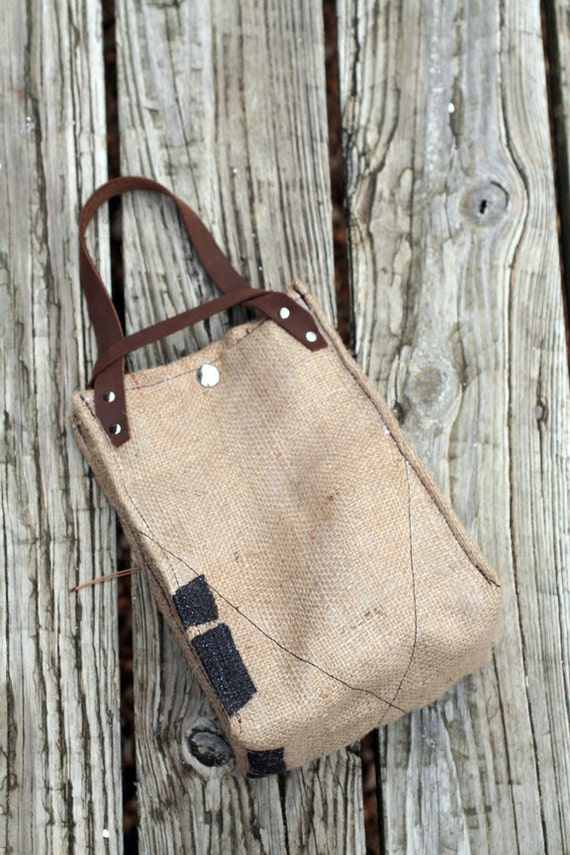 READY TO SHIP. Recycled Burlap, Thermally Insulated Lunch Bag with Leather Handles and Waxed Cotton Interior. Model: Coffee Bean (14)