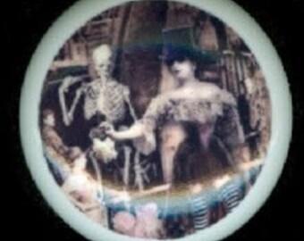 After Midnight Goth STEAMPUNK LADY with Crow & Skeleton Ceramic Drawer Knob