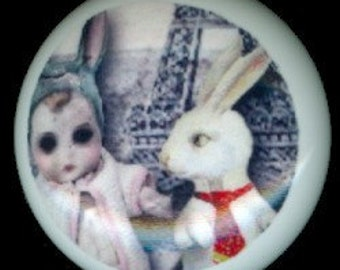 After Midnight WHITE RABBIT with SCARY Doll Girl Gothic Ceramic Drawer Knob