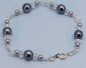 Gunmetal Crystal Effect  Pearly Bracelet - Reserved for Gracegraphics