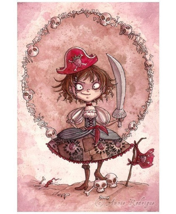 Strawberry Pirate Alicia - 5x7 print