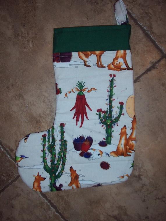 Quilted Christmas Stocking Xmas desert cactus Free Personalization Southwest