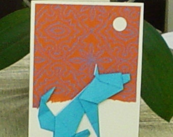 BOW WOW at the moon the Origami Paper Dog Card