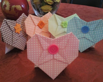 5 Cute as A Button Origami Heart Cards