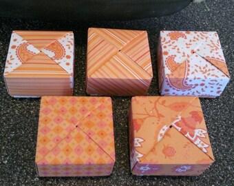 5 Paper Origami Square Mini Boxes - Orange Explosion