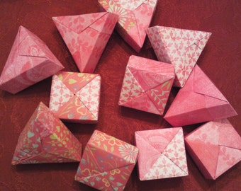 11 Paper Origami MINI MINI Boxes Squares and Triangles - In The Pink