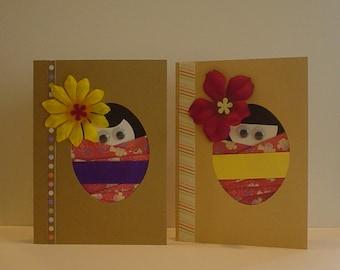 Kokeshi Girls Greeting Cards (A)